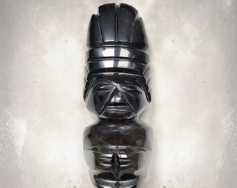 Vintage Aztec Warrior Sculpture | Mayan | Gold Sheen Obsidian | Protection | Hand Carved | Meditation Stone | Artifact