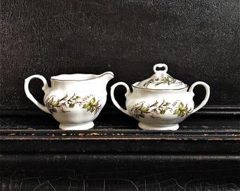 Vintage Sugar Bowl & Creamer | Grape Leaves And Vine | Favolina | Poland