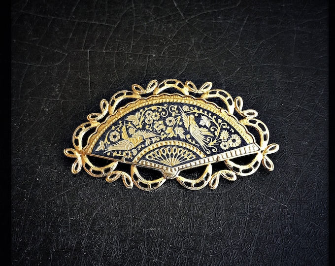 Vintage Damascene Brooch | Birds | Gold & Black | Fan | Made In Spain