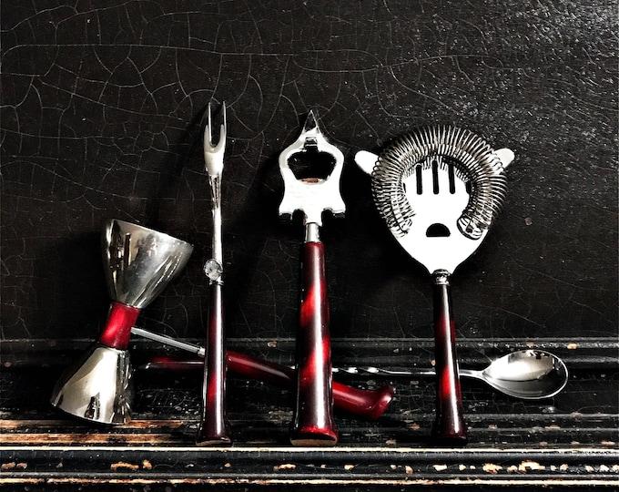 Vintage Barware Set   Glo-Hill   Barmates   Bar Tools   Bar Utensils   Made In Canada