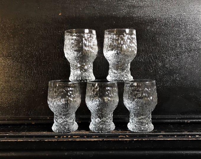 "Vintage Drinking Glasses   Brutalist Glassware   Glacier Style   Ice Textured   Midcentury   Set of 5   5"""