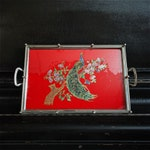 """Vintage Peacock Serving Tray 