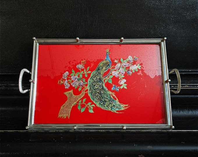 Vintage Peacock Serving Tray | Reverse Painted Glass | Vintage Tray | Aluminium Frame | 20""
