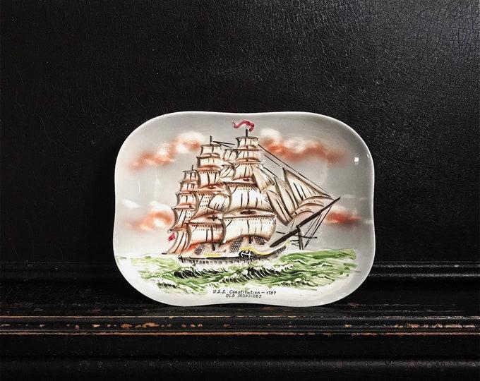 Vintage Ship Wall Plaque | U.S.S. Constitution - 1797 | Old Ironsides | Porcelain