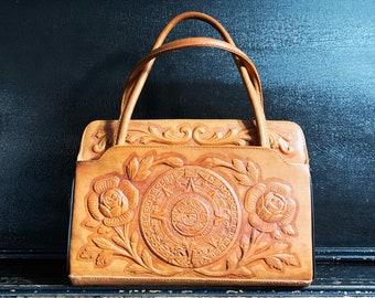 Vintage Leather Purse | Roses | Mayan Calendar | Folk Art | Leather Handbag | Handcrafted | Mexico