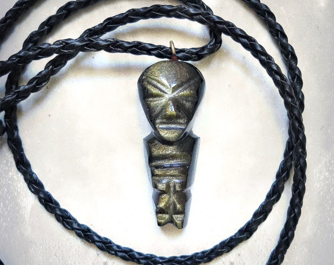 Vintage Aztec Warrior Amulet   Mayan   Gold Sheen Obsidian   Protection Amulet   Hand Carved   Necklace   Braided Leather Cord