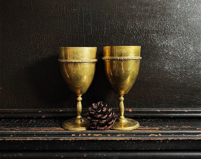 Vintage Wine Glasses | Goblets | Chalices | Brass | Mexico | Pair