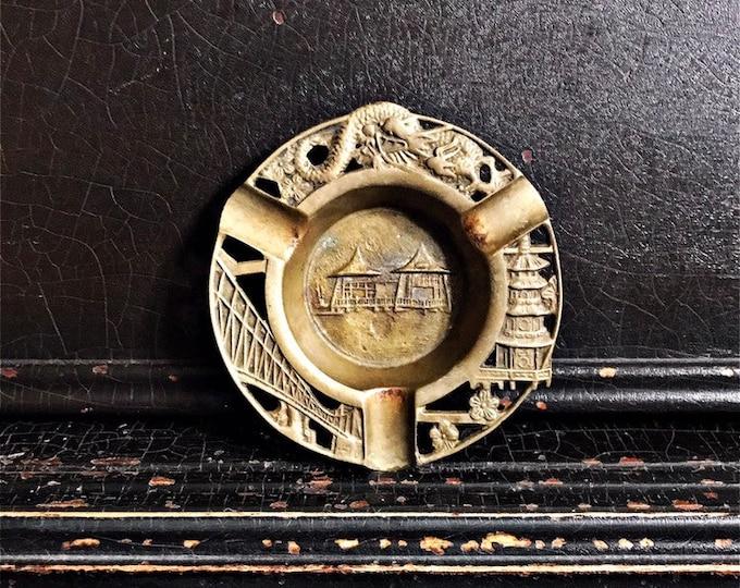 """Vintage Temple Souvenir Tray   Asian Tray   Valet Tray   Ashtray   Brass   5"""""""