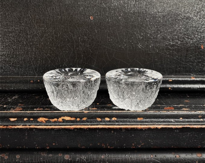 Vintage Candlestick Holders | Scandinavian | Candlesticks | Ice Textured Glass | Candle Holders | Pair