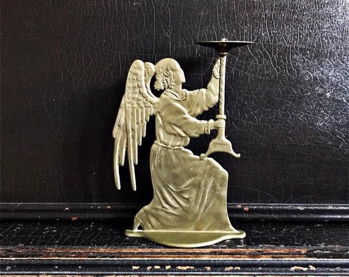"Vintage Angel Candleholder | Kneeling Angel | Matt Brass | 8"""