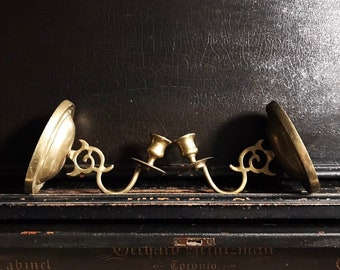 Vintage Wall Sconces   Candlestick Holders   Wall Candle Holders   Brass   Pair