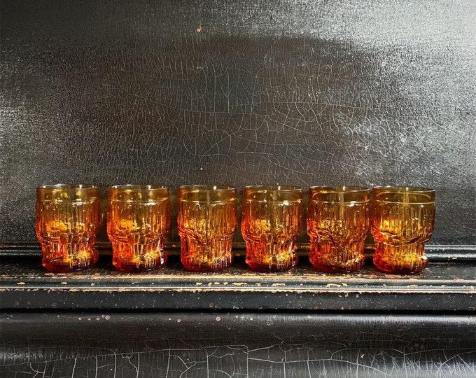 "Vintage Drinking Glasses   Brutalist Glassware   Glacier Style   Ice Textured   Midcentury   Set of 6   4"""