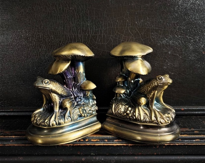 Vintage Frog Bookends | Frog & Mushrooms | Brass-Tone | Metal | S.O.C. | Pair