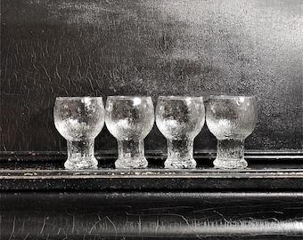 "Vintage Drinking Glasses | Brutalist Glassware | Glacier Style | Ice Textured | Midcentury | Set Of 4 | 5.5"""