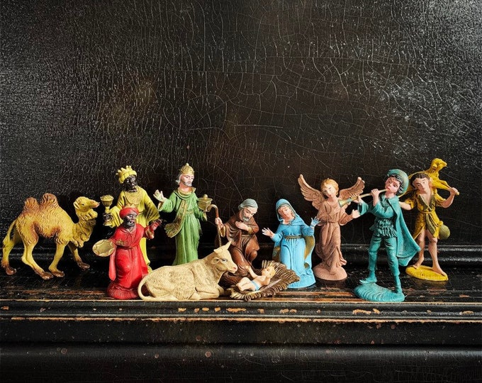 Vintage Nativity Set | Nativity Scene | Christmas Figurines | Nativity Figures | Italy