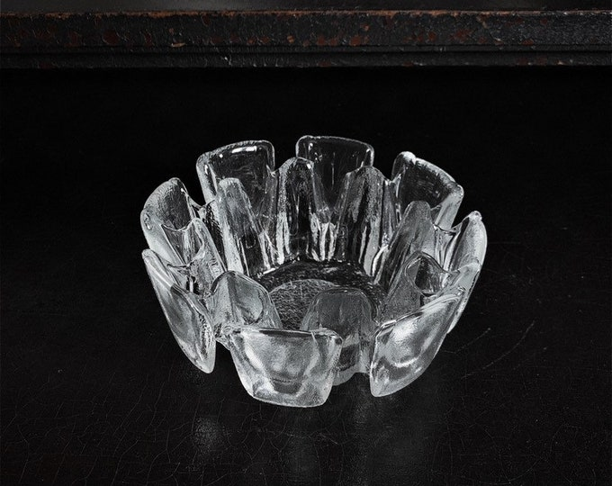 Vintage Glass Bowl   Ravenhead Glass   Candle Holder   Ice Textured   Midcentury   United Kingdom