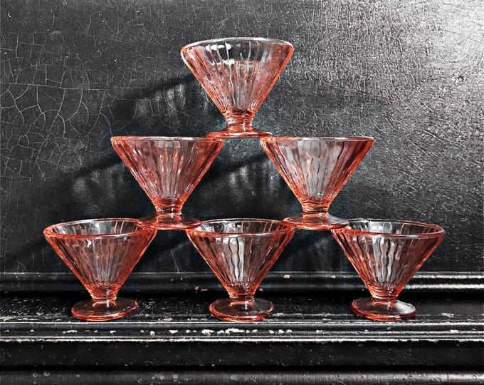 Vintage Dessert Cups | Martini Glasses | Depression Glass | Vaseline Glass | Pink | Set of 6