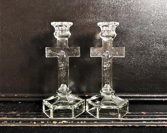 "Vintage Candlestick Holders | Candlesticks | Crucifix | Jesus On Cross | Depression Glass | Pair | 8.5"""