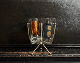 Vintage Ice Bucket With Stand | Gold & Black | Currency | Coins | Midcentury