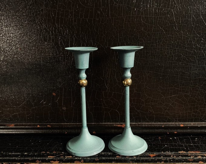 Vintage Candlestick Holders | Candlesticks | Gold Bead | Verdigris Finish | Brass | Pair | 6 3/8""