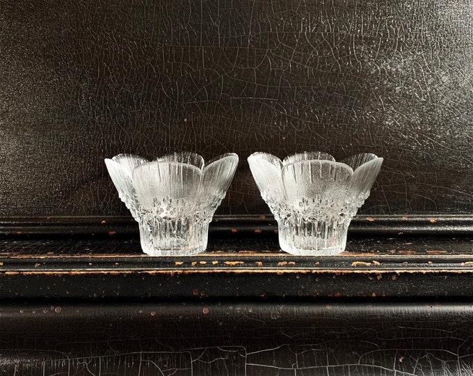 Vintage Candle Holder Bowls | Mäntsälän Taidelasisepät Glassworks | HEINÄ | Glass Flowers | Votive Holders | Pair