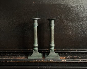 "Vintage Candlestick Holders | Candlesticks | Verdigris Finish | Brass | Pair | 8"""