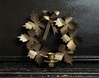 Vintage Wall Sconce Wreath | Holiday Decor | Candlestick Holder | Brass