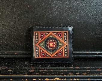 Vintage Leather Wallet | Folk Art | Handcrafted | Hand Tooled | Geometric & Floral | Mendala
