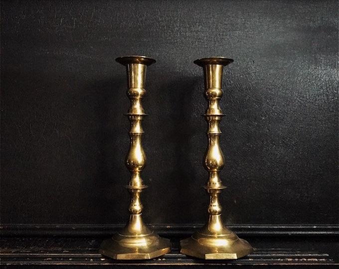 "Vintage Candlestick Holders | Candlesticks | Brass | Pair | 12"""