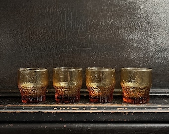 "Vintage Drinking Glasses | Brutalist Glassware | Glacier Style | Crystal Glassware | Ice Textured | Midcentury | Set of 4 | 3.5"""
