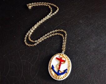 Vintage Anchor Locket | Anchor Necklace | Enamel | Gold Tone Chain | Nautical