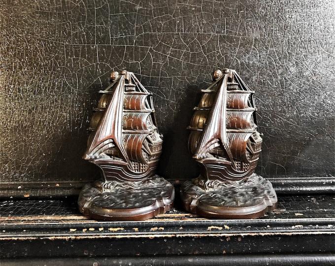 """Vintage Nautical Bookends   Ships   1930 N.Y.C.   Metal   Pair   6.5"""""""