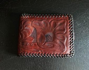 Vintage Leather Wallet | Folk Art | Handcrafted | Hand Tooled | Floral