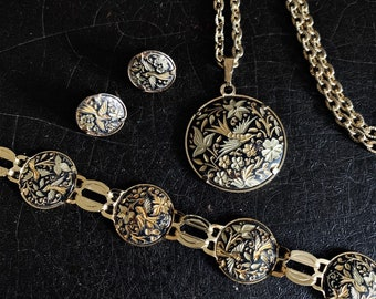 Vintage Damascene Jewelry Set | Birds | Flowers | Gold & Black | Spain