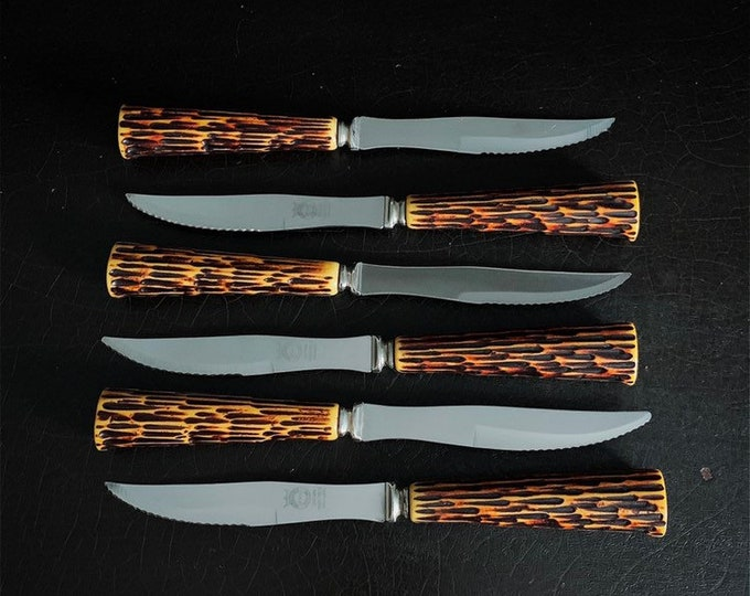 Vintage Steak Knives | Faux Antler Handle | Crown Sheffield | Bakelite | Made In The UK | Set Of 6