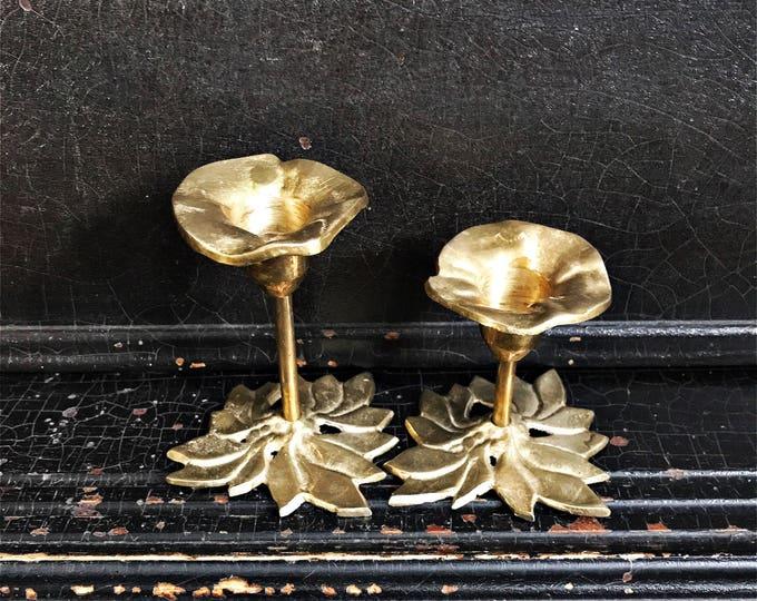 Vintage Candlestick Holders | Candlesticks | Flowers | Brass | Pair