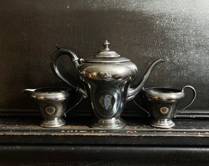 Vintage Silver Serving Set | WM. A Rogers Canada | Silver Plated | Teapot | Creamer & Sugar Bowl | S.P.B.M.