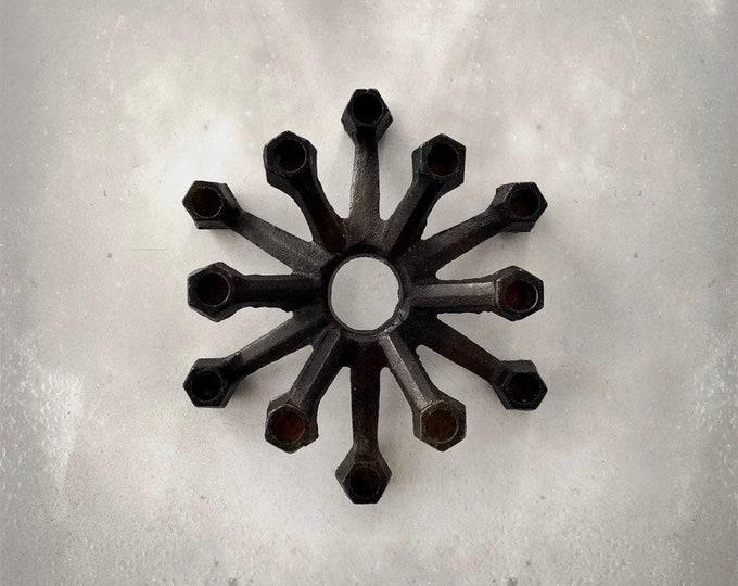 "Vintage Candlesticks Holder | Tiny Taper Holder | Taper Cluster | Dansk Style | Iron | 4"""