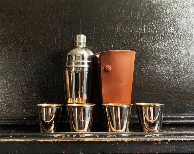 Vintage Stirrup Bar Shaker Set | Travel Shaker | Stirrup Cups | Leather Case | Barware | Canada