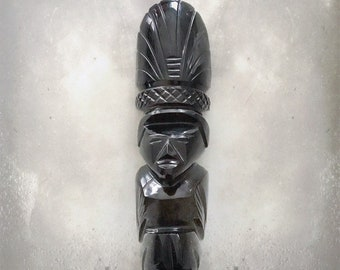 Vintage Aztec Warrior Sculpture | Mayan | Obsidian | Protection | Hand Carved | Meditation Stone | Artifact
