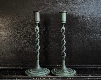 "Vintage Candlestick Holders | Candlesticks | Twisted | Verdigris Finish | Brass | Pair | 11"""