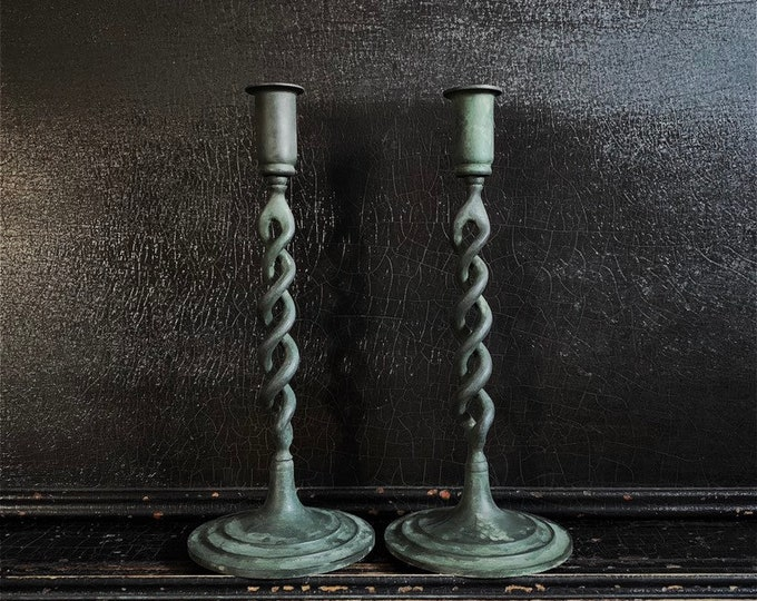 Vintage Candlestick Holders | Candlesticks | Twisted | Verdigris Finish | Brass | Pair | 11""