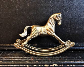 Vintage Rocking Horse   Statue   Brass