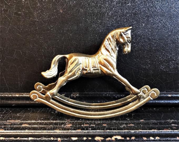 Vintage Rocking Horse | Statue | Brass