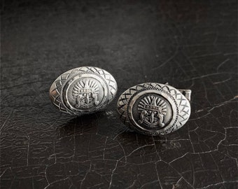 Vintage Silver Cufflinks   Aztec   Sterling Silver   Mayan God   Mexico