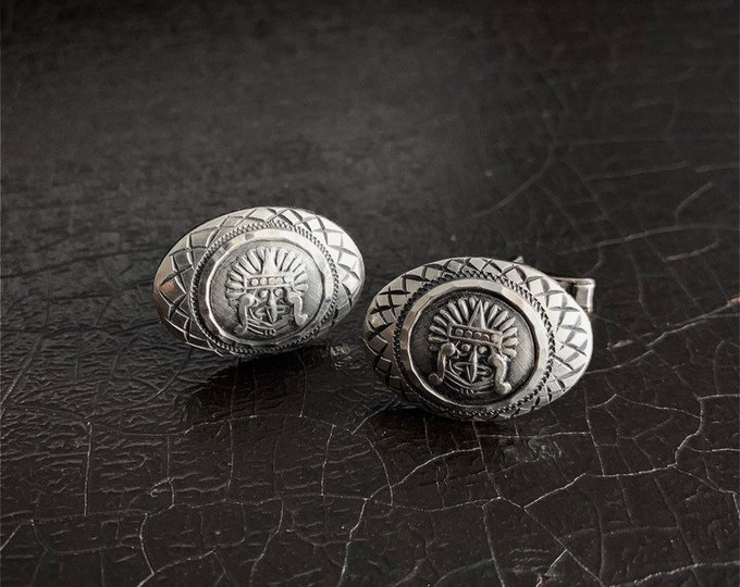 Vintage Silver Cufflinks | Aztec | Sterling Silver | Mayan God | Mexico