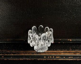 Vintage Candle Holder | Kosta Boda | Sunflower | Ice Textured Glass | Votive Holder | Sweden