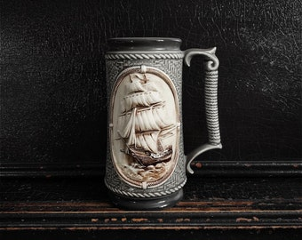 "Vintage Ship Stein | Porcelain | Tall Ship | Nautical Decor | Tankard | 7"""