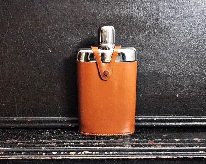 Vintage Stirrup Flask | Travel Flask | Hip Flask | Handblown Glass | Leather Case | Germany