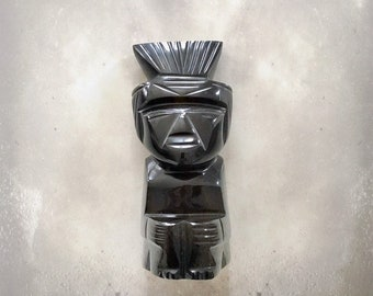 Vintage Aztec Warrior Sculpture | Mayan | Silver Sheen Obsidian | Protection | Hand Carved | Meditation Stone | Artifact
